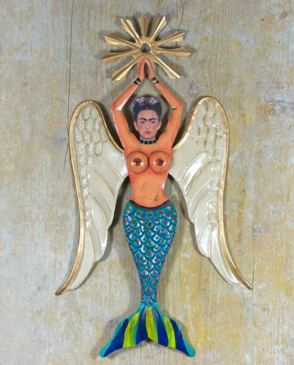 Décoration murale sirène Frida seins nus avec resplendeur - turquoise