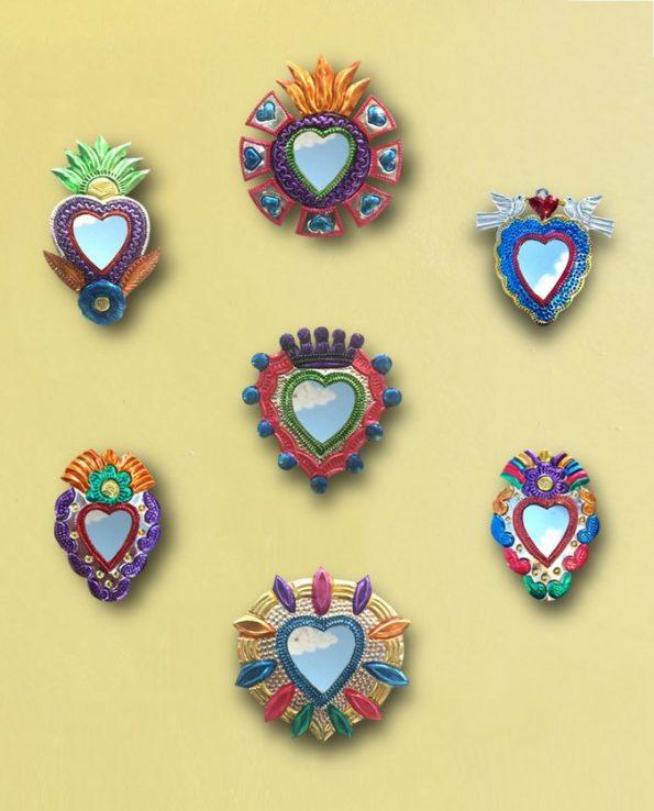 Sélection de miroirs coeurs sacrés du Mexique env. 12cm