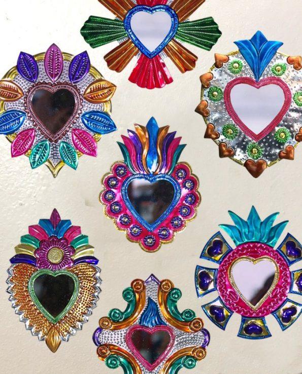 Sélection de miroirs coeur sacré mexicains env. 25cm
