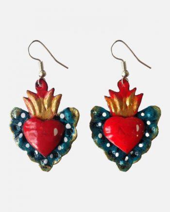 Boucles d'oreille coeur métal peint, turquoise
