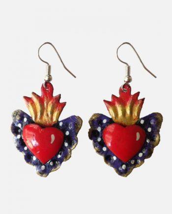 Boucles d'oreille coeur métal peint, mauve