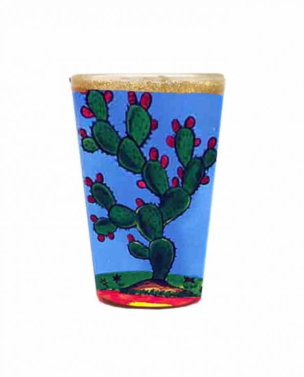 Bougie mexicaine décorée cactus Loteria 12