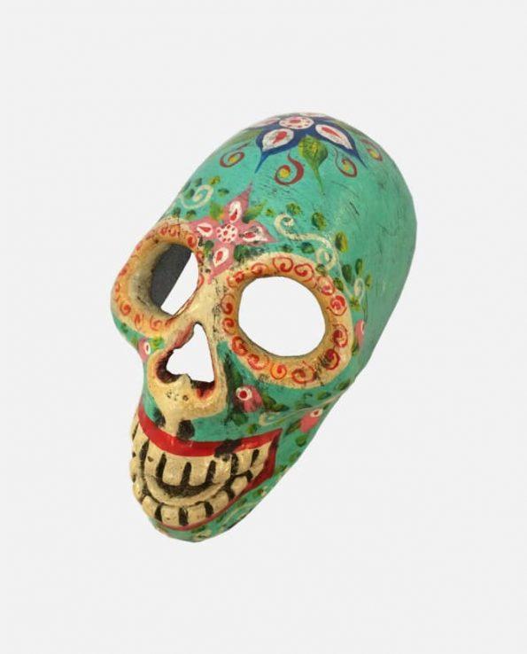 Crâne vanité du Guatemala, turquoise