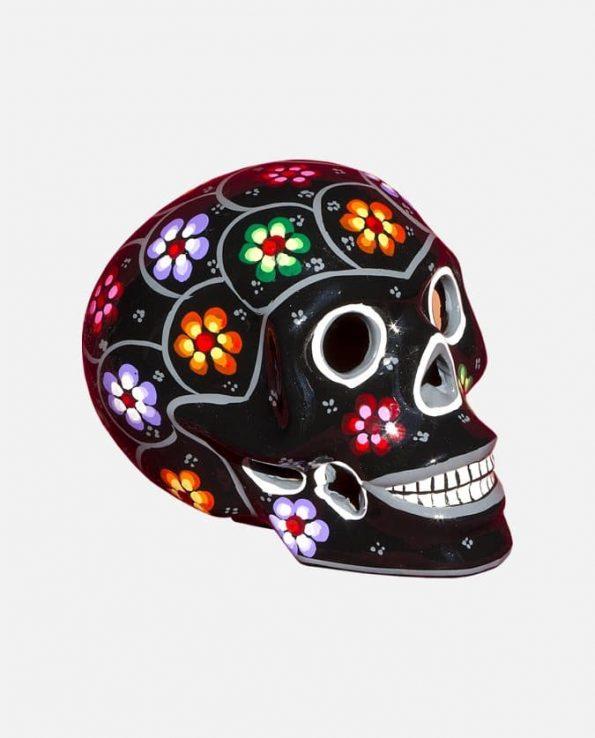 Crâne mexicain à fleurs Peint, Noir