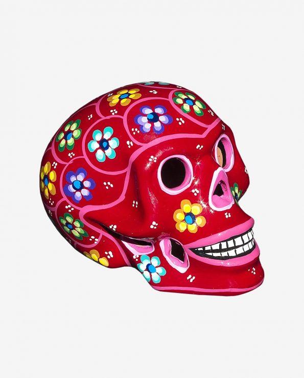 Crâne mexicain à fleurs Peint, Rouge