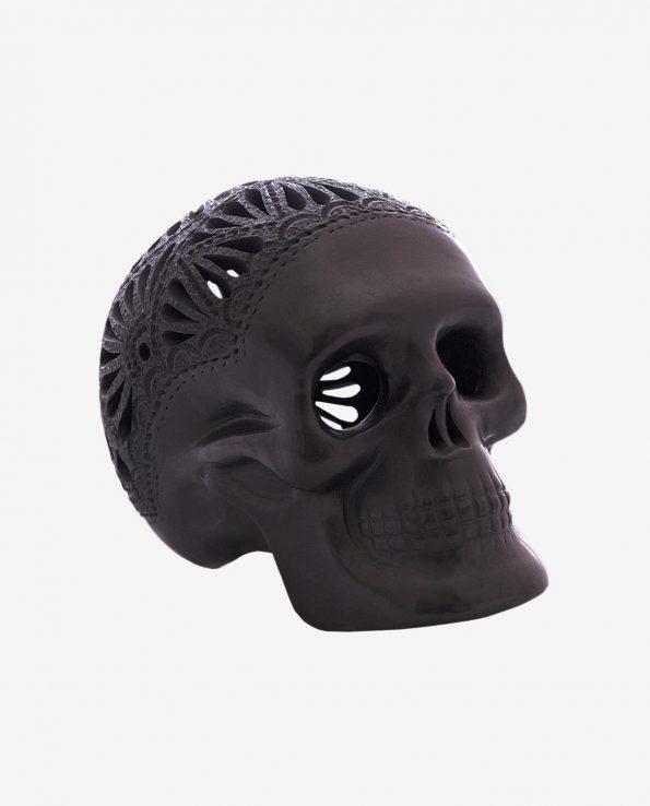 Crâne mexicain argile noir ajouré Ajouré, Grand