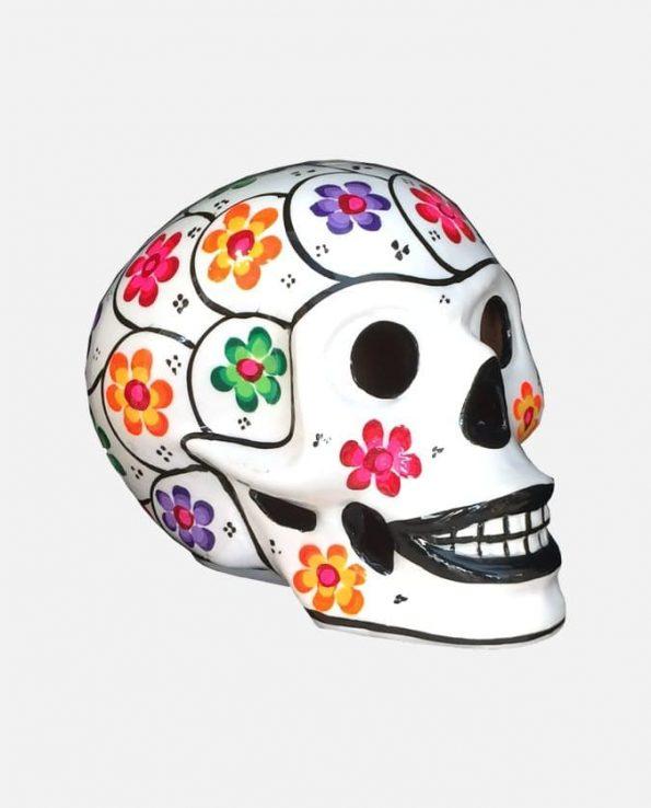 Crâne mexicain à fleurs Peint, Blanc