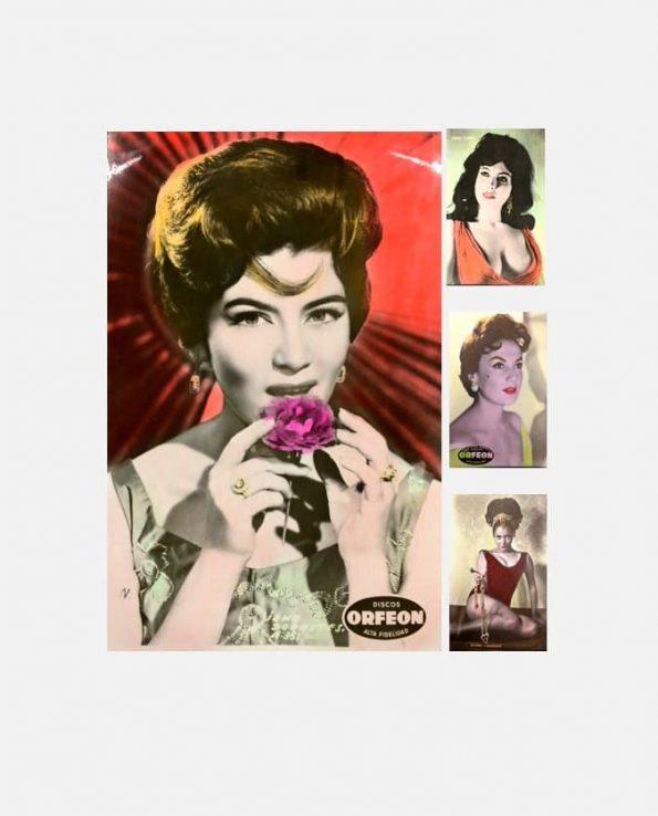 Lot de carte rétro (x5) coloriées 9*14 cm thème artistes