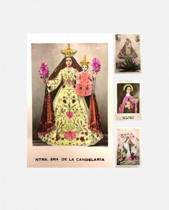 Lot de carte rétro (x5) coloriées 9*14 cm thème religieux