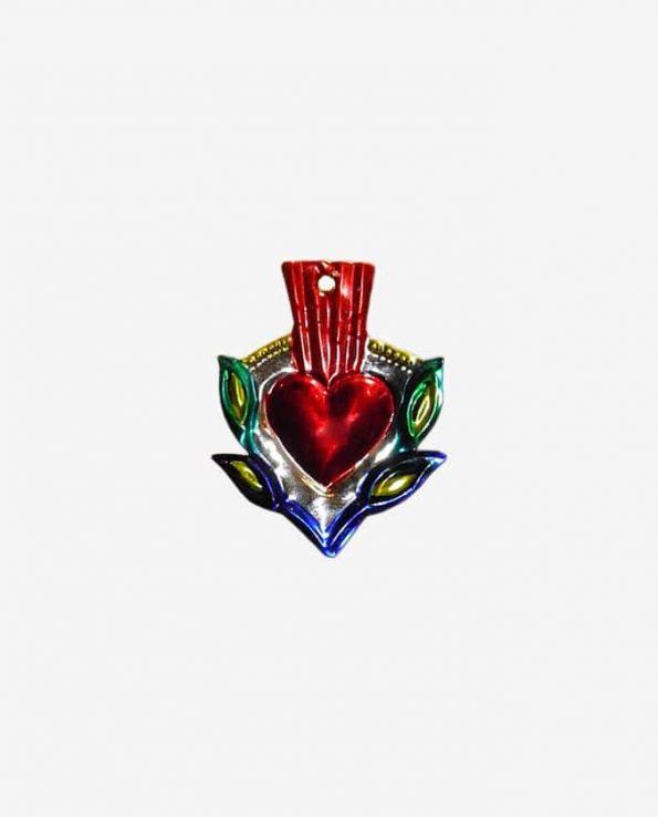 Coeur ex-voto mexicain métal repoussé 8cm
