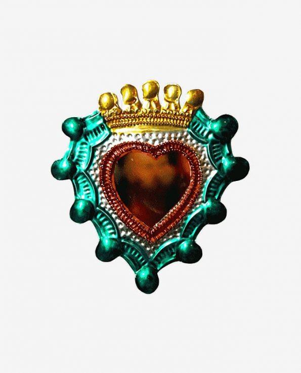 Coeur ex-voto mexicain miroir env. 10cm