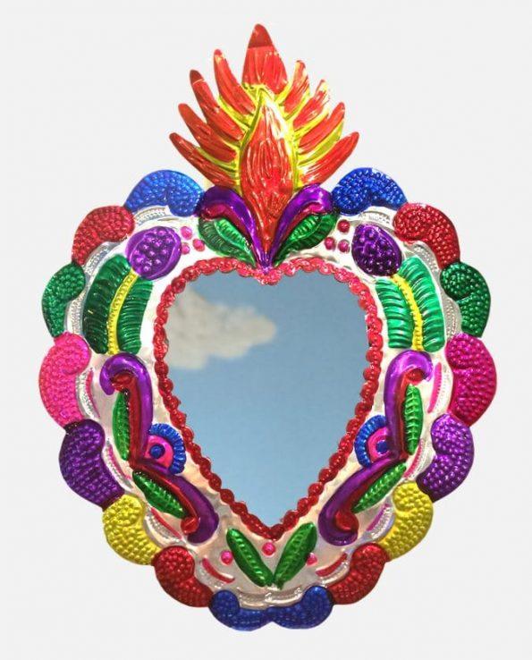 Coeur ex-voto mexicain miroir 40cm