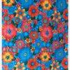 Toile cirée mexicaine lluvia de flores fond bleu ciel