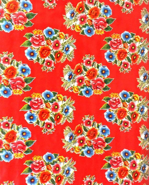 Toile cirée (par rouleau de 11m*120cm), Ramilletes rouge