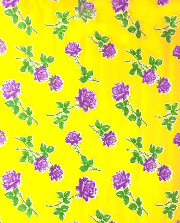 Toile cirée (par rouleau de 11m*120cm), Rosas jaune