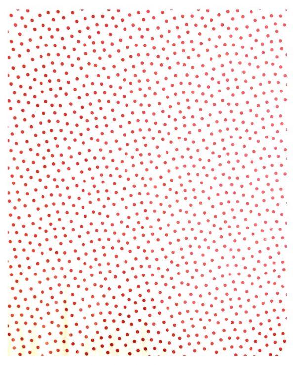 Toile cirée (par rouleau de 11m*120cm), Lunares fond blanc poids rouges