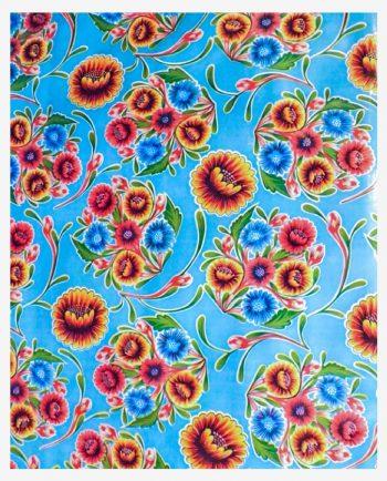 Toile cirée (par rouleau de 11m*120cm), Dulce flor bleu ciel