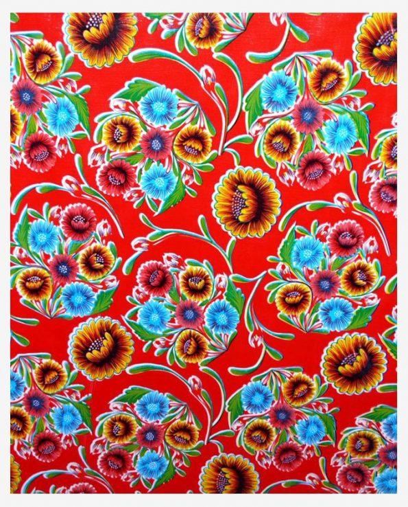 Toile cirée (par rouleau de 11m*120cm), Dulce flor rouge