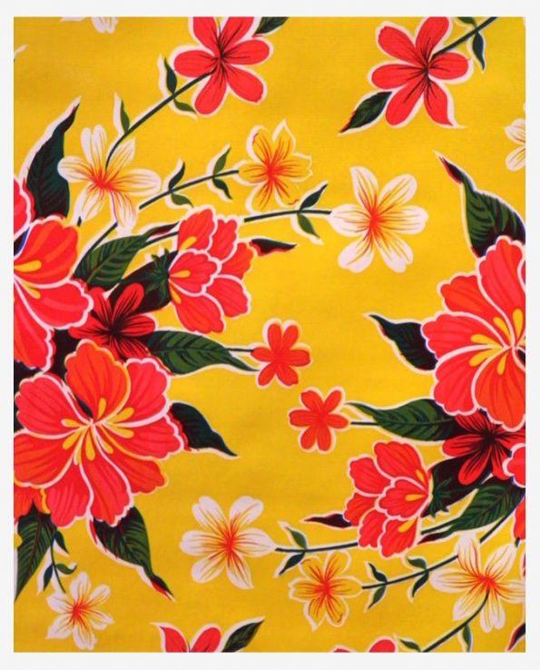 Toile cirée (par rouleau de 11m*120cm), Hibiscus jaune