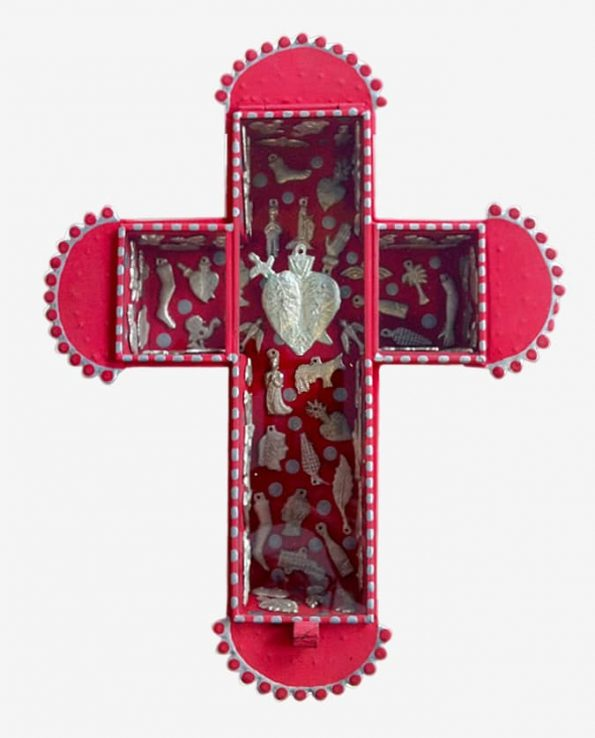 Vitrine croix sertie de milagros 27,5*22 cm