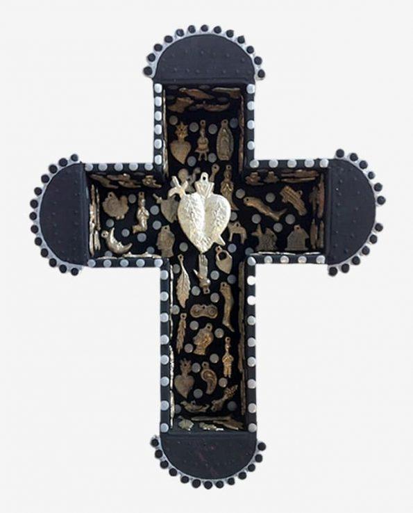 Vitrine croix sertie de milagros 27,5*22 cm noir