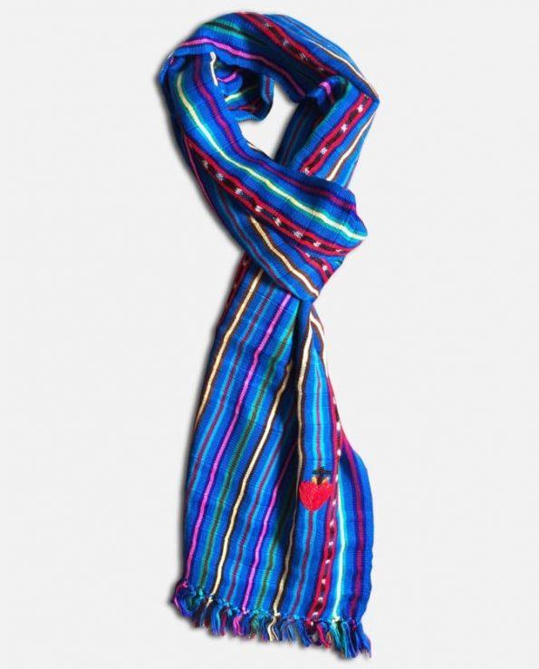 Echarpe rayée soie et coton large, bleu