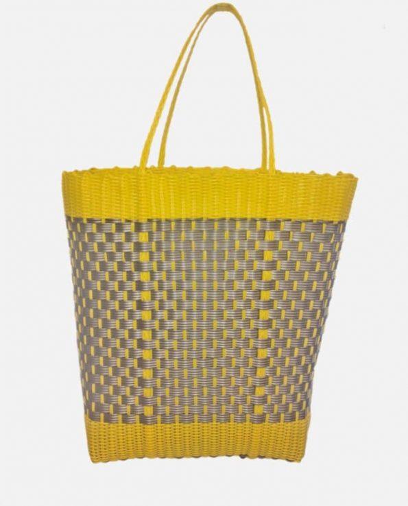 Cabas tressé plastique GM 38x30-40cm jaune-gris