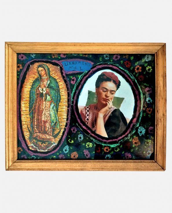Ex-voto mexicain d'art - Manuel Baumen - Modèle Frida Kahlo