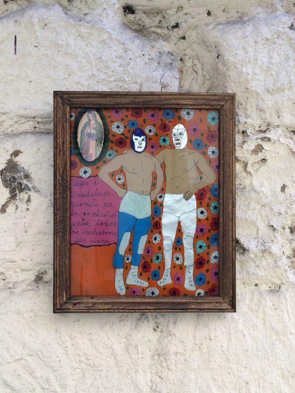 Ex-voto mexicain d'art - Manuel Baumen - Modèle Luchador mexicain