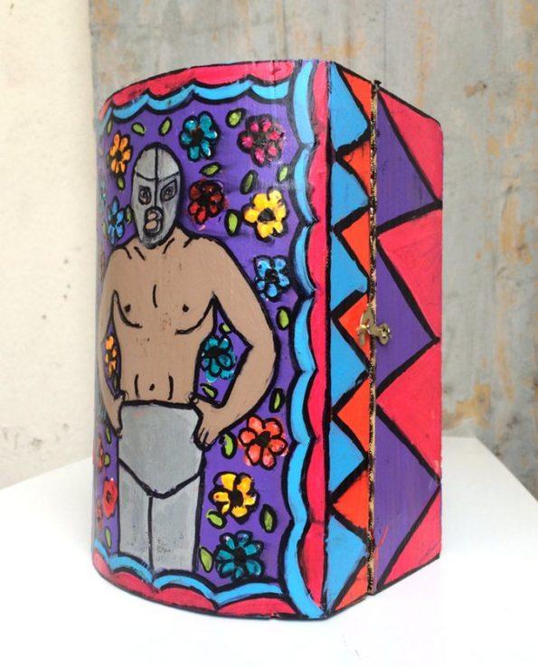 Boîte décorative ex-voto art mexicain Luchador