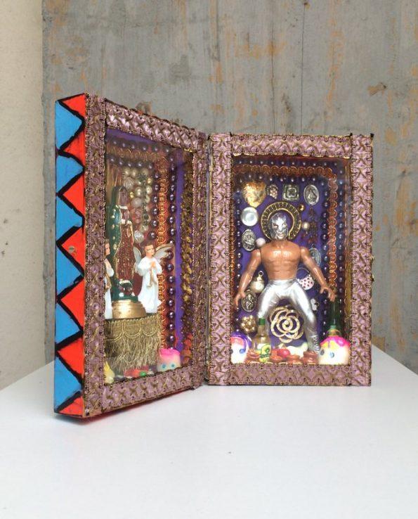Boîte décorative ex-voto art mexicain Luchador - Vue ouverte