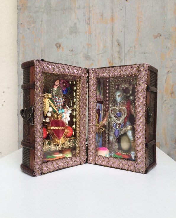 Boîte décorative ex-voto art mexicain Luchador - modèle 2 vue ouverte