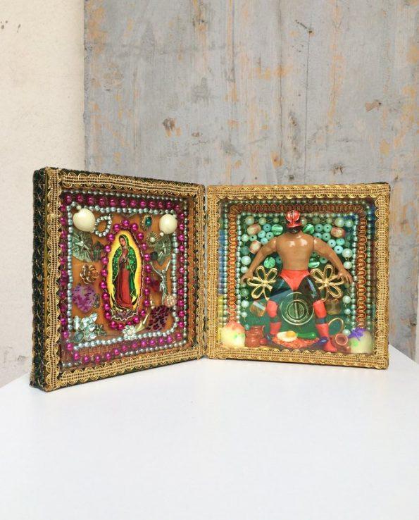 Boîte décorative ex-voto art mexicain Luchador - modèle 3 vue ouverte