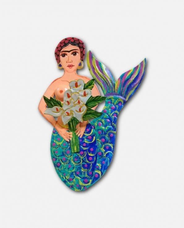Décoration murale Frida Kahlo sirène à fleurs