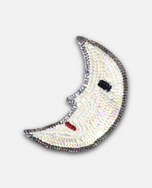 Ecusson à coudre paillettes design lune