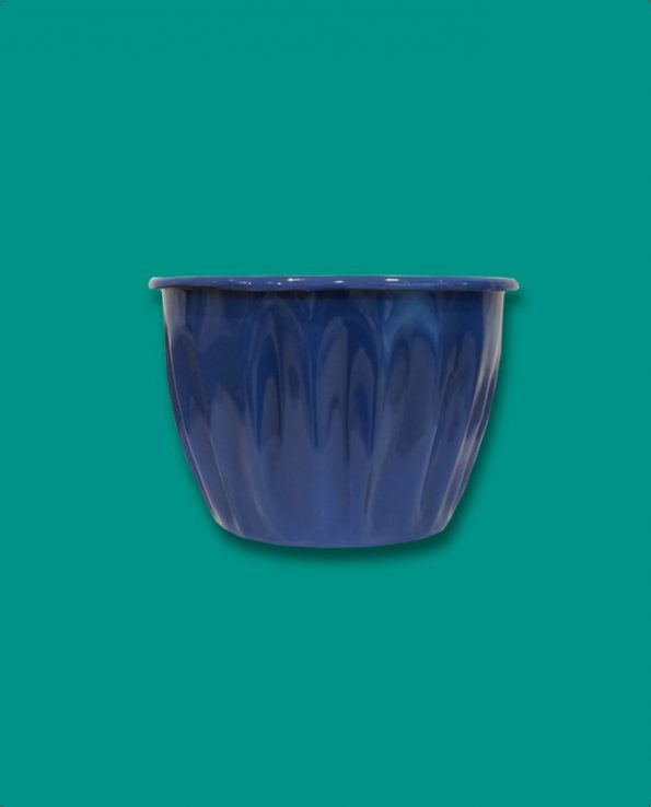Pot à fleurs émaillé du Guatemala, bleu océan