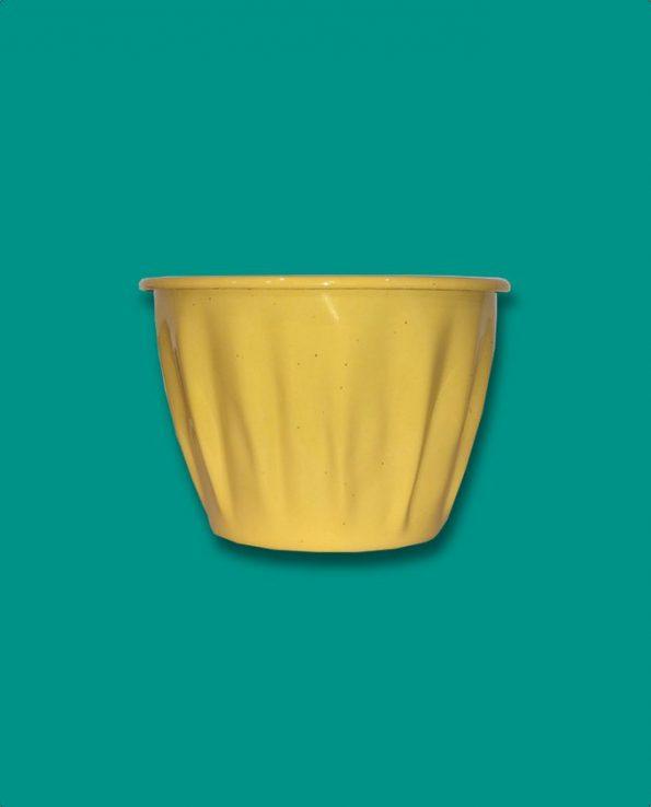 Pot à fleurs émaillé du Guatemala, jaune ocre