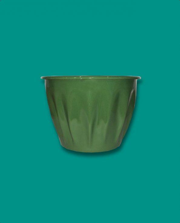 Pot à fleurs émaillé du Guatemala, vert forêt