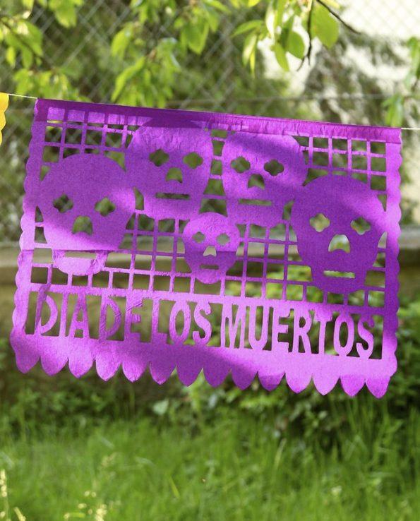 Papel picado fête des morts guirlande GM papier 10 feuilles 48x35 cm - détail 1