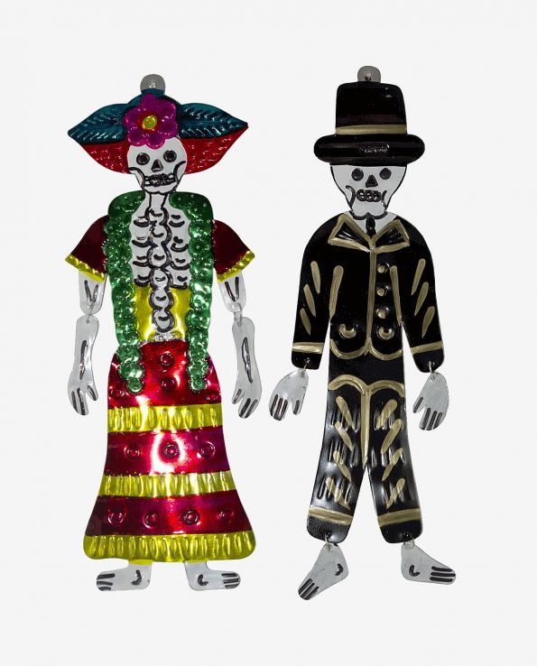 Couple de figurines Catrina et Catrin mexicaines
