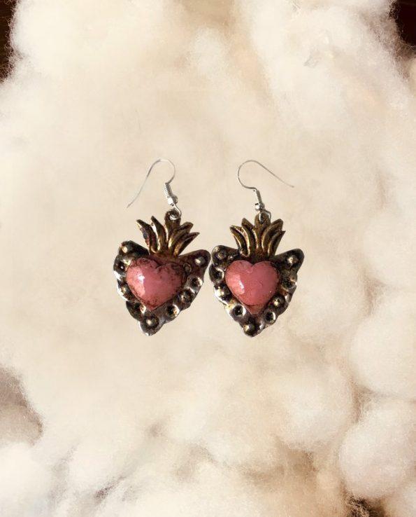 Boucle d'oreille mexicaine fait main – patinée coeur rose