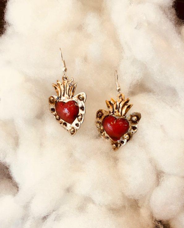 Boucle d'oreille mexicaine fait main - patinée coeur rouge