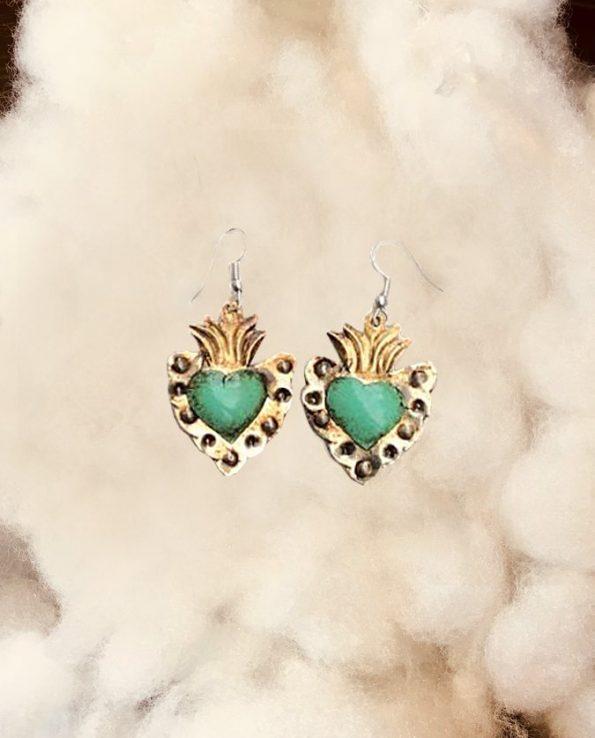 Boucle d'oreille mexicaine fait main – patinée coeur turquoise