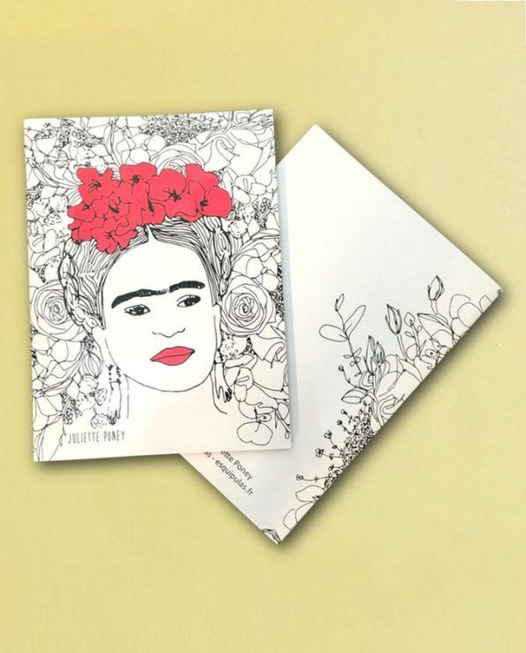 Cahier Frida Kahlo visage et fleurs