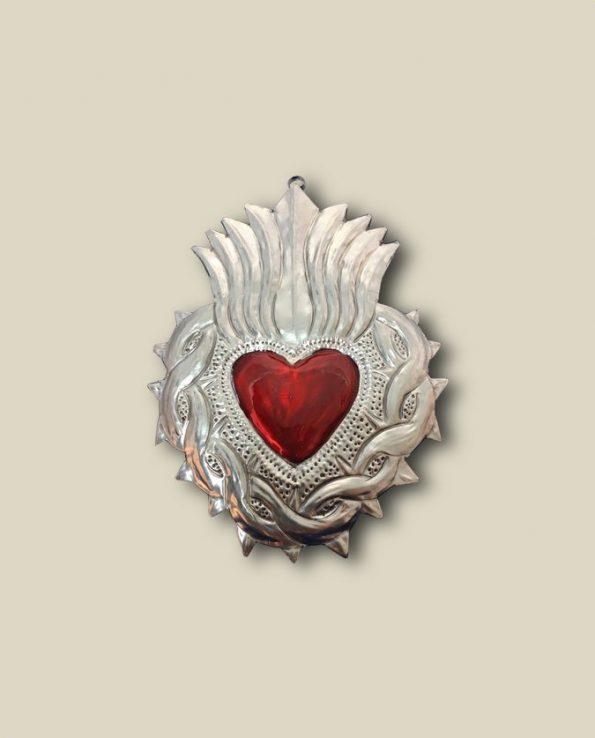 Coeur ex voto mexicain bichrome couronne d'épines