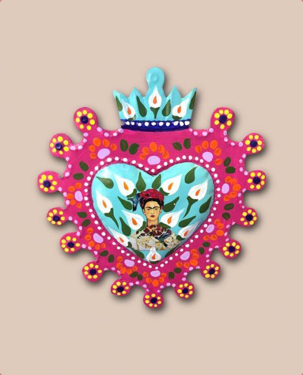 Coeur ex voto mexicain peint Frida Kahlo