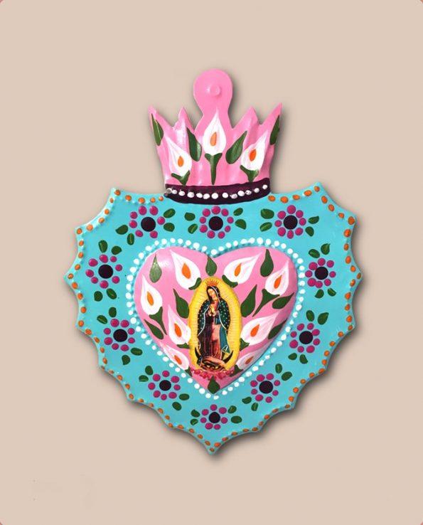 Coeur ex voto mexicain peint Vierge de Guadalupe