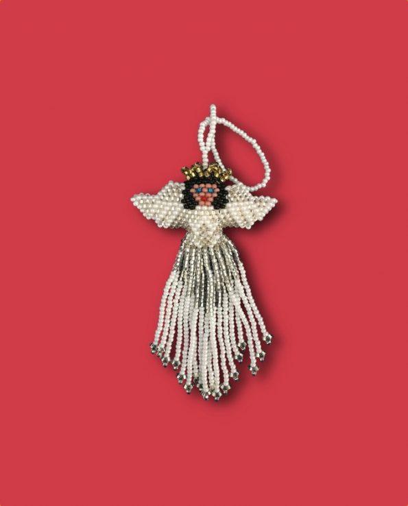Décoration noël ange en perles de rocaille fait main