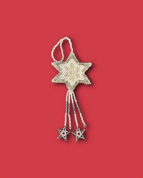 Décoration noël étoile en perles de rocaille fait main