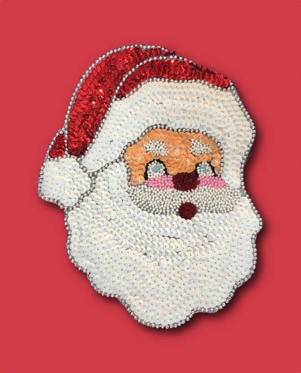 Décoration noël Père Noël en paillettes brodées